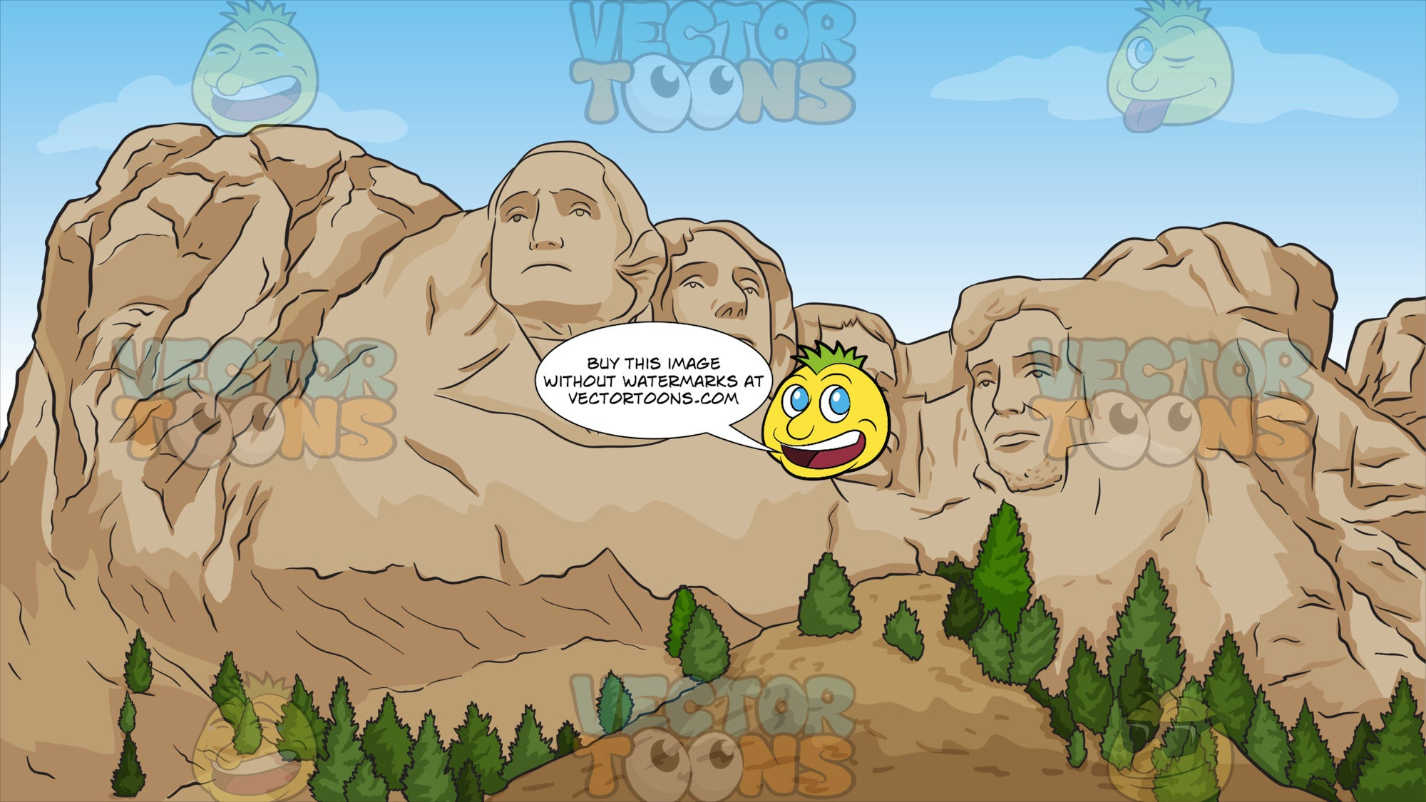 Mount Rushmore National Memorial Background. A sculpture of the heads of U.S. Presidents George Washington, Thomas Jefferson, Theodore Roosevelt, and Abraham Lincoln,carved into the granite face of Mount Rushmore
