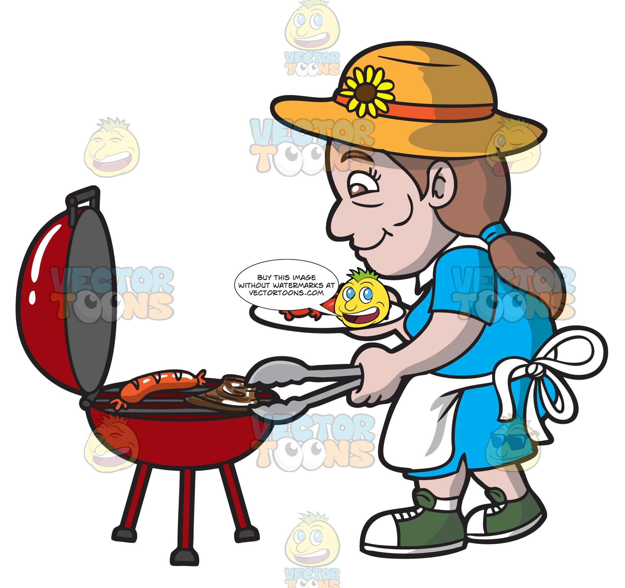 An Elderly Woman Barbecuing Sausages And Steak