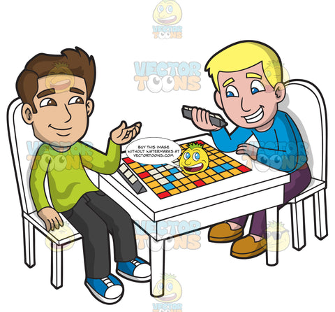 Two Guys Playing Scrabble