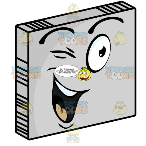 Winking, Smiling Happy Smiley Face Emoticon, Flirting On Grey Square Metal Plate Tilted Right