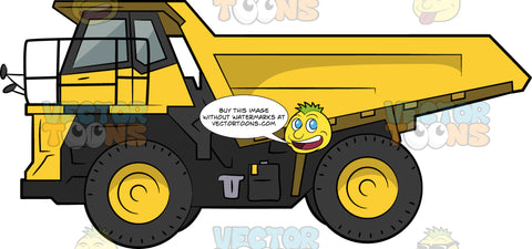 Dump Truck. A yellow and black construction truck with a elongated and hydraulic platform at the back that moves up and down