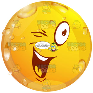Winking Wet Yellow Smiley Face Emoticon, Flirting