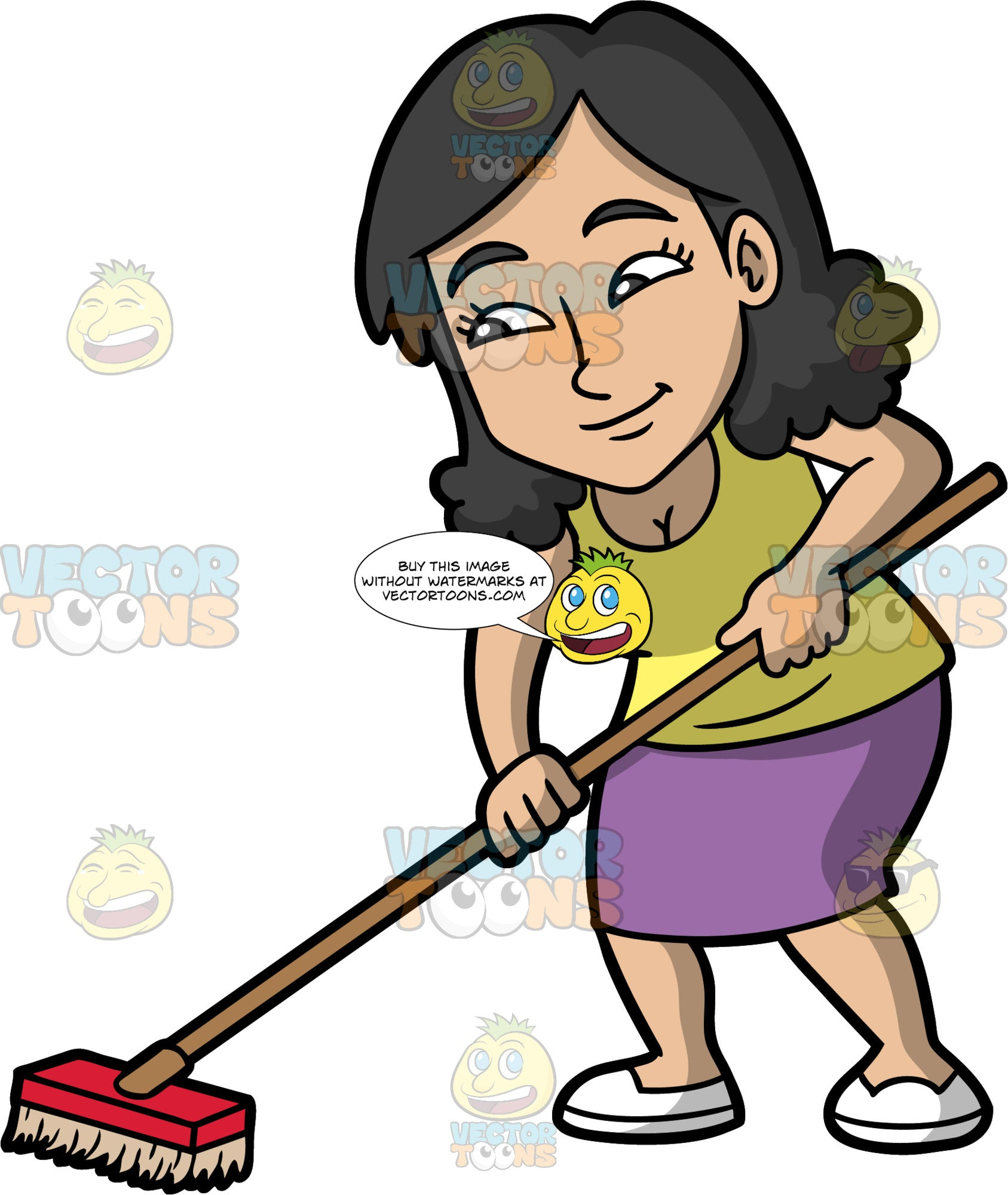 A Woman Sweeping The Floor With A Bristle Broom. A woman with black hair, wearing a purple skirt, a yellow shirt, and white shoes, holding onto a broom with both hands and sweeping the floor
