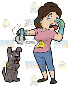 A Woman Picking Up The Stinky Poo Of Her Dog
