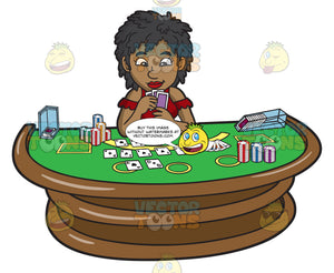 A Black Woman Playing Poker
