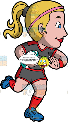 A blonde woman running with a rugby ball under one arm. A woman with blond hair tied up in A ponytail, wearing gray and red shorts, a gray and red shirt, red socks, and blue rugby cleats, running down the field with a white and blue rugby ball under one arm