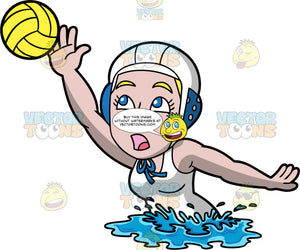 A Woman Reaching Up To Catch A Water Polo Ball. A Woman wearing a white with blue water polo cap, and a white bathing suit, launches her upper body out of the water and reaches one arm up in an attempt to catch a yellow water polo ball
