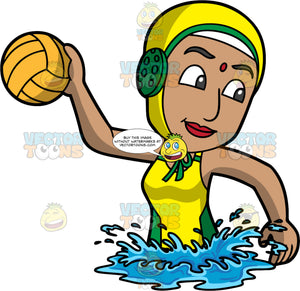 An Indian Woman Preparing To Throw A Water Polo Ball. An Indian woman wearing a yellow with green water polo cap, and a yellow with green bathing suit, looks over her shoulder and prepares to throw the orange water polo ball in her hand