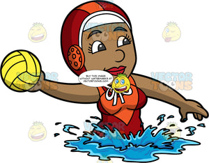 A Black Woman Holding A Water Polo Ball. A black woman wearing a red with orange water polo cap, and a red with orange bathing suit, treads water as she prepares to throw the yellow water polo ball in her hand