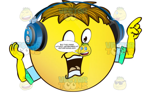 Yellow Smiley Face Emoticon With Arms, Brown Hair And Headphones Pointing In One Direction, Giving Come With Me Motion With Other Wearing Rolled Up Sleeves