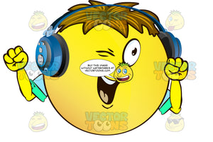 Winking Yellow Smiley Face Emoticon With Arms, Brown Hair And Headphones Arms Pointed Down With Clenched Fists Wearing Rolled Up Sleeves