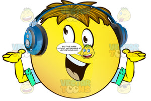 Yellow Smiley Face Emoticon With Arms, Brown Hair And Headphones Arms Out And Down Smiling, Convincing, Eyes Up And Looking Left, Wearing Rolled Up Sleeves