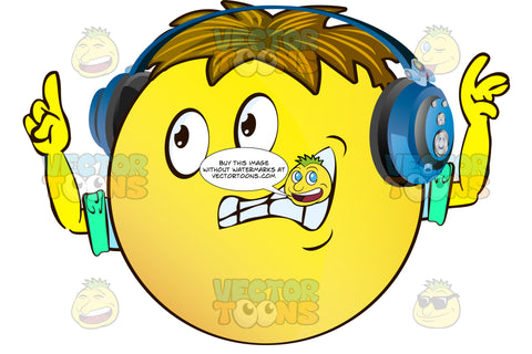 Timid Objecting Yellow Smiley Face Emoticon With Arms, Brown Hair And Headphones