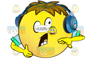 Yelling, Open Mouthed Yellow Smiley Face Emoticon With Arms, Brown Hair And Headphones