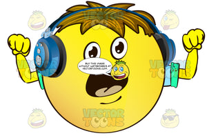 Yelling Yellow Smiley Face Emoticon With Arms, Brown Hair And Headphones
