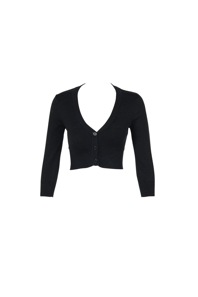 Pinup Girl Clothing Cropped Cardigan in Black