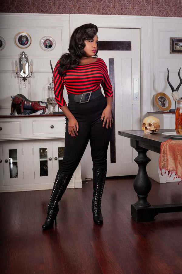 Deadly Dames Dovima Top in Red and Black Stripe