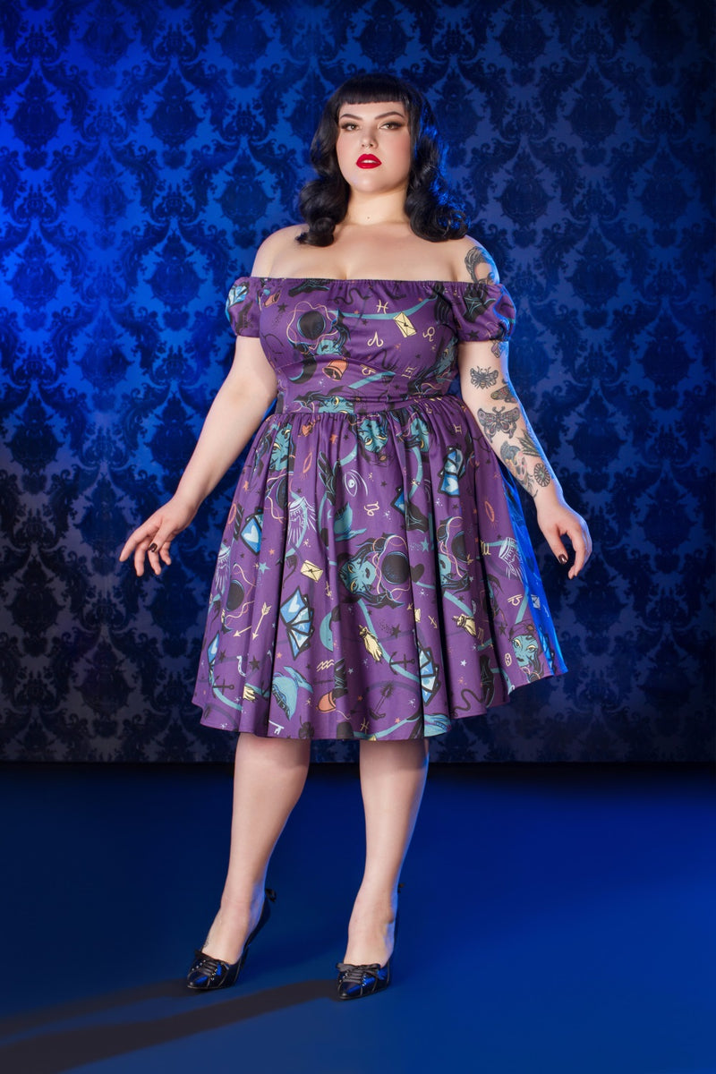 Pinup Couture Peasant Dress in Fortune Teller Print