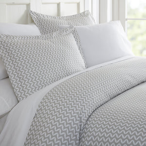 Puffed Chevron Patterned 3-Piece Duvet Cover Set - Comforters - Linens and Hutch