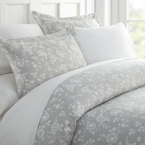 Comforters, Rose Gray Patterned 3-Piece Duvet Cover Set, Linens And Hutch