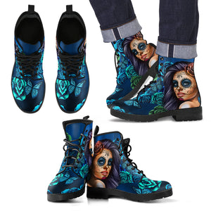 Men's Leather Boots Calavera Turquoise