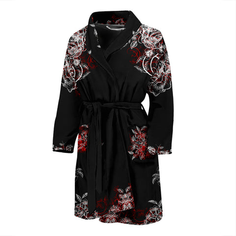 Bathrobe Black with White and Red Flowers Men's