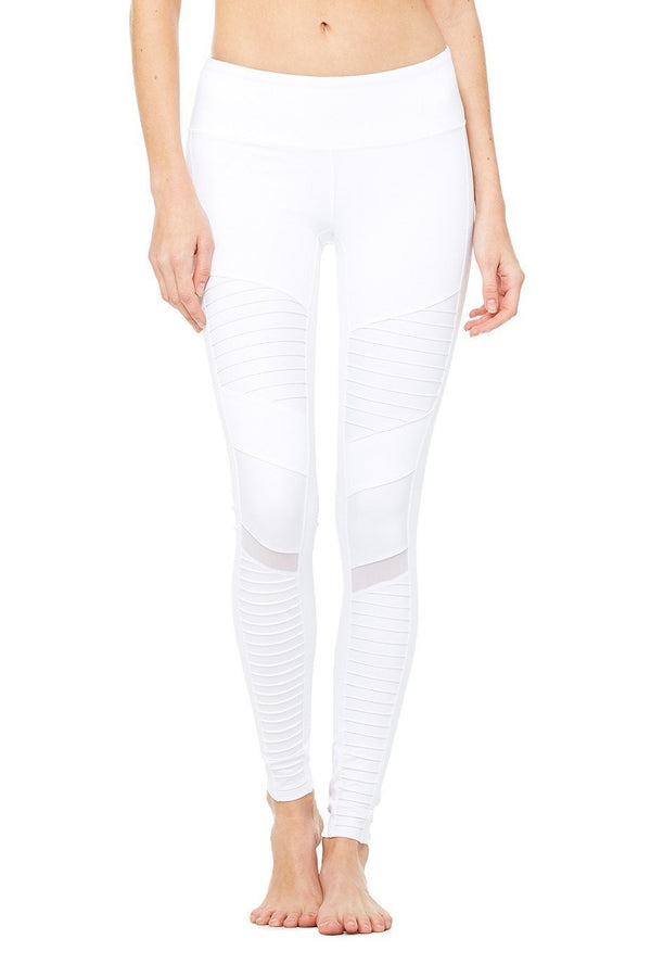 WOMENS LEGGINGS Alo Yoga Moto Legging - White / White Glossy