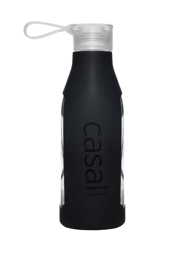 WATER BOTTLE Casall ECO glass bottle 0,6L – Black