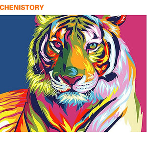 CHENISTORY Colorful Tiger DIY Painting On Canvas