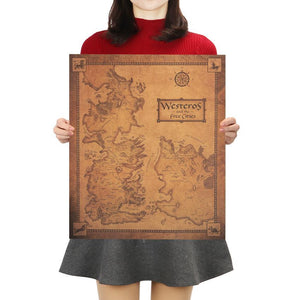 Westeros Map Retro Kraft Paper Decorative Painting Wall Sticker