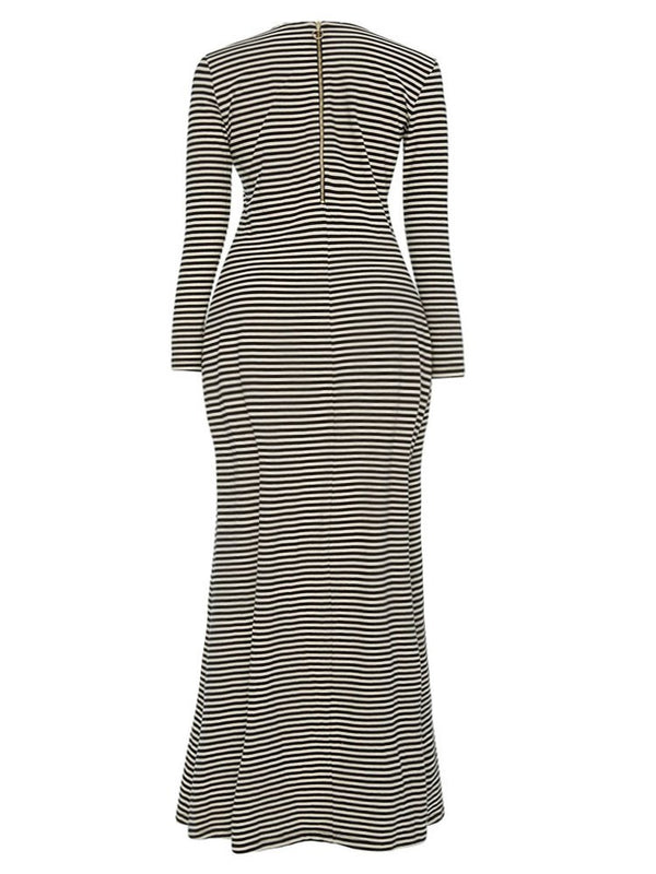 Stripe Long Sleeve Women's Maxi Dress