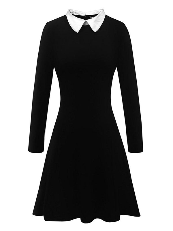 Peter Pan Collar Black Women's Day Dress