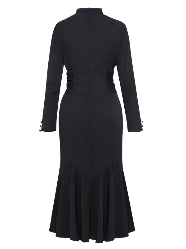 Black V Neck Ruffled Women's Long Sleeve Dress