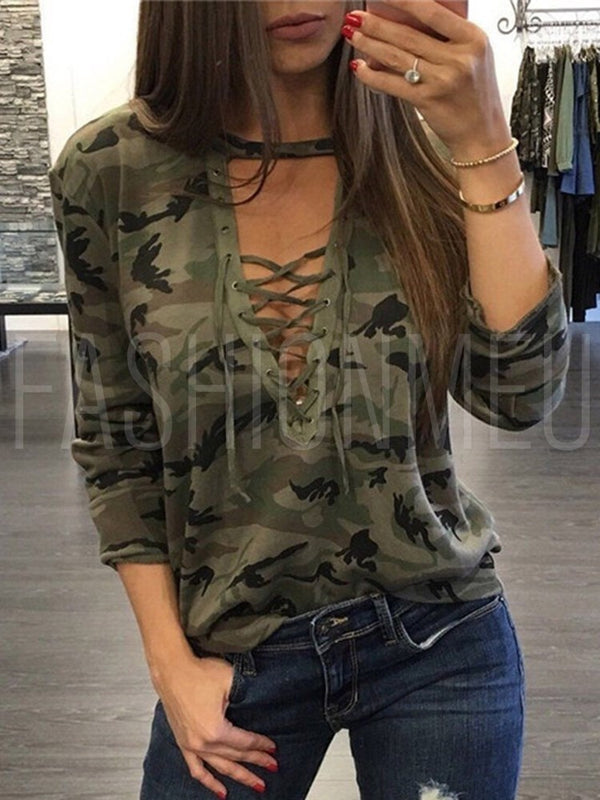 Sexy Camouflage Deep V Neck Lace up Long Sleeved T-Shirt