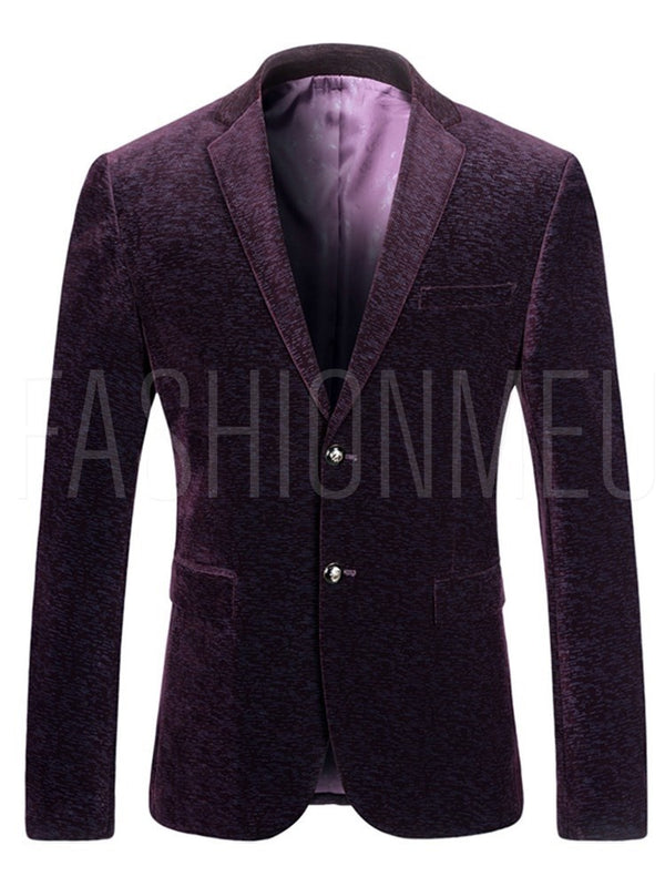 Printed Notched Lapel Slim Mens Casual Blazer