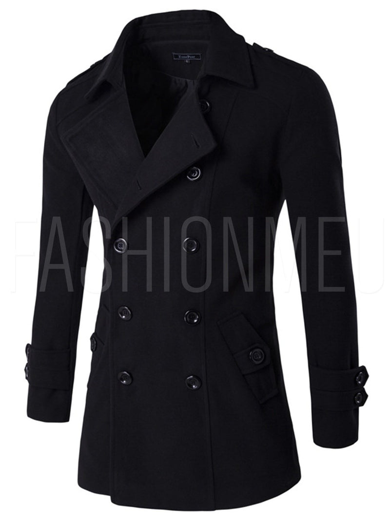 Notched Lapel Double-Breasted Plain Casual Men's Wool Coat