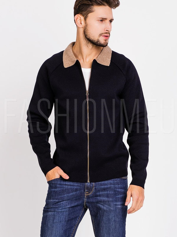 Men's Knitted Bomber with Borg Collar