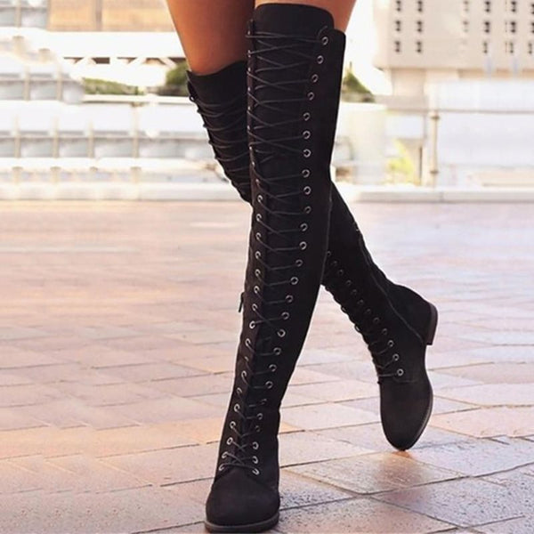 Suede Rubber Side Zipper Women's Boots