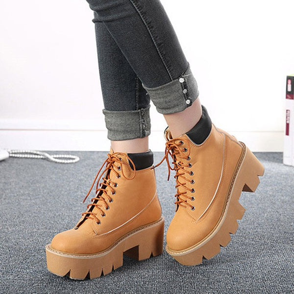 Lace-Up Women's Platform Boots