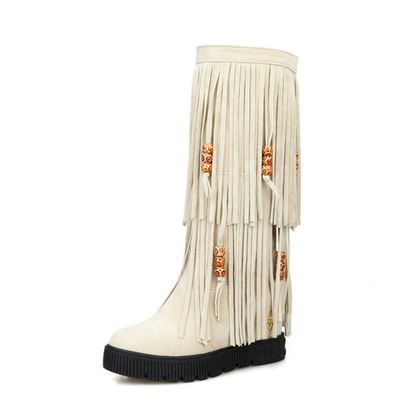 Winter Rubber PU Slip-On Round Toe Women's Boots