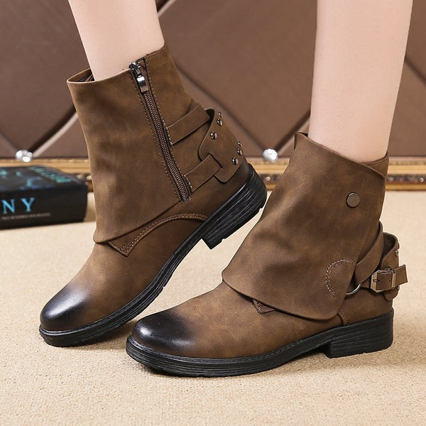 Side Zipper Round Toe Block Heel Brush Off Casual Boots