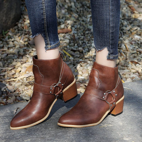 Back Zip Round Toe Plain Chunky Heel Casual Boots