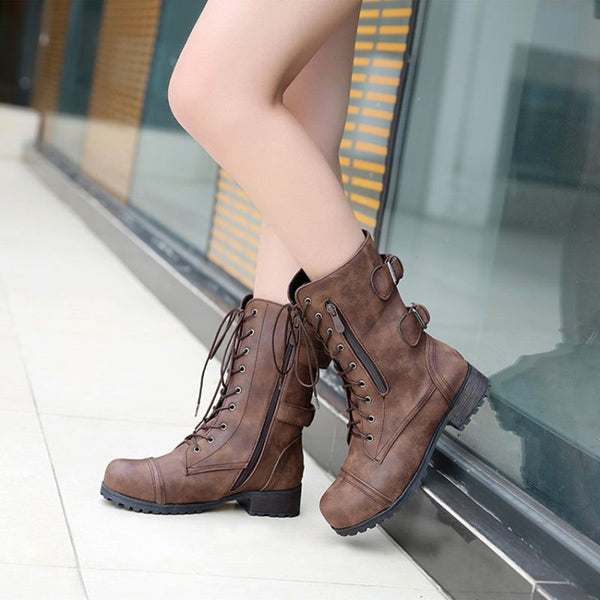 Side Zipper Block Heel Plain Round Toe Casual Cotton Boots