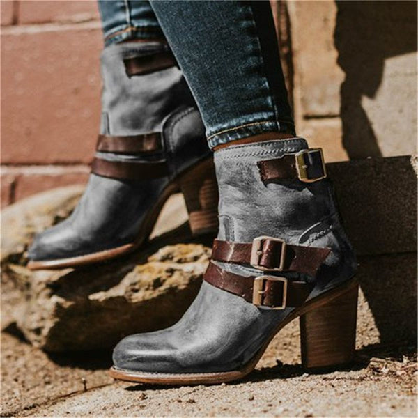 Round Toe Hasp Casual Boots