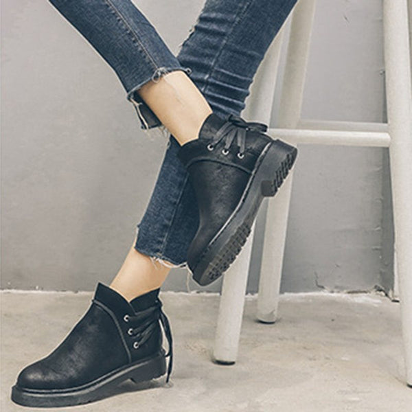 Block Heel Round Toe Lace-Up Back Short Floss Casual Boots