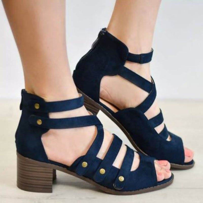 Chunky Heel Zipper Rivet Peep Toe Casual Mid-Heel Thin Shoes