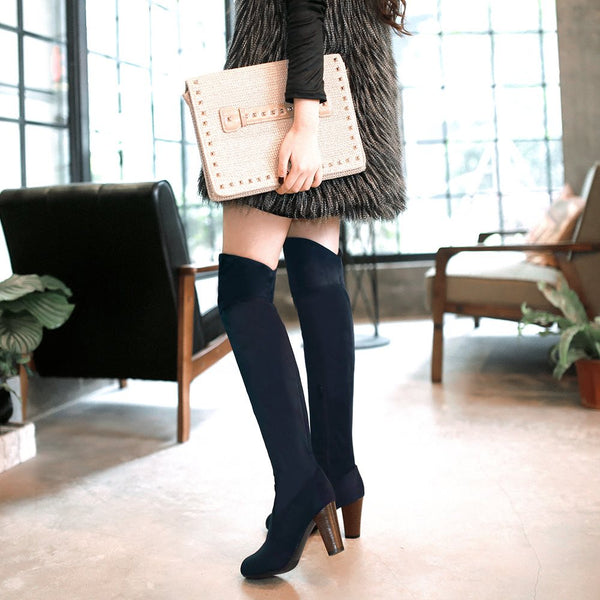 Plain Slip-On Pointed Toe Block Heel Casual Short Floss Boots