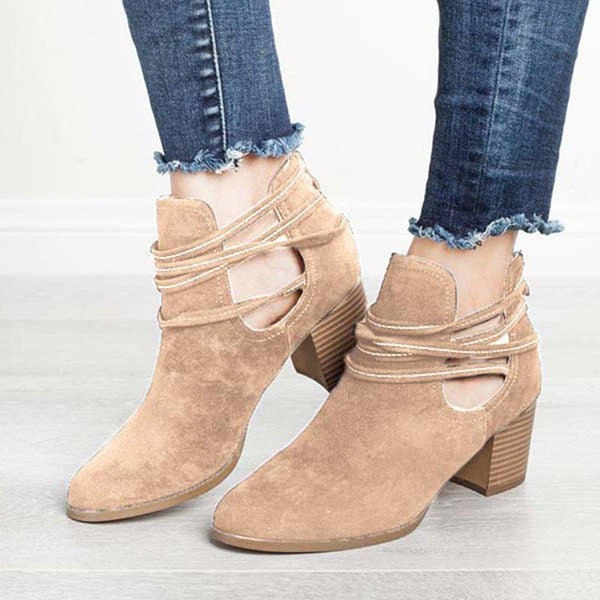 Back Zip Round Toe Plain Chunky Heel PU Hollow Boots