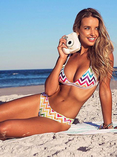 Sexy Rainbow Stripy Bikini Set