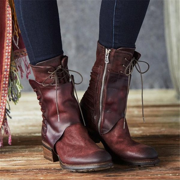 Side Zipper Round Toe Zipper Casual Boots